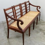 Vintage rattan settee. Nordic furniture. Vintage furniture. Classical furniture. Restoration.