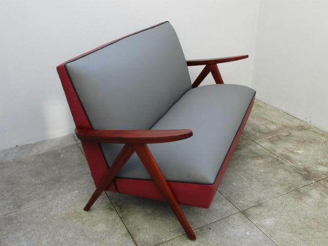 Sofa vintage wooden arms. Nordic furniture. Vintage furniture. Classical furniture. Restoration.