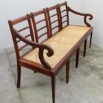 Vintage rattan settee. Nordic furniture. Vintage furniture. Classical furniture. Restoration.