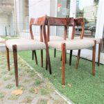 Nordic type chairs, design by Niels Moller, model 77. Nordic furniture in Porto. Vintage furniture in Porto. Furniture restoration in Porto.