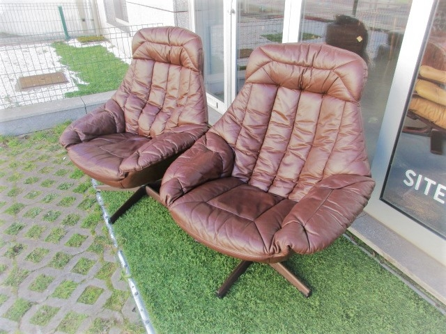 Nordic leather chairs, designed by H W Klein,