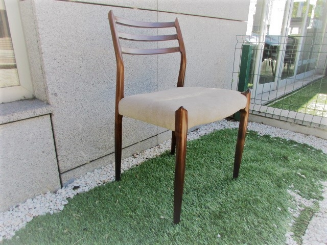 Nordic chair, design by N Moller, model 78. Nordic furniture in Porto. Vintage furniture in Porto. Restoration of furniture in Porto.