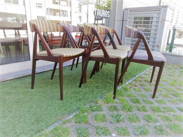 Nordic teak chairs, designed by Kai Kristiansen, model 31. Nordic furniture in Porto. Vintage furniture in Porto. Restoration of furniture in Porto.